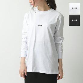 MSGM エムエスジーエム 2741 MDM82 長袖Tシャツ ロンT ロング リブ カットソー クルーネック 丸首 ちびロゴ カラー2色 レディース