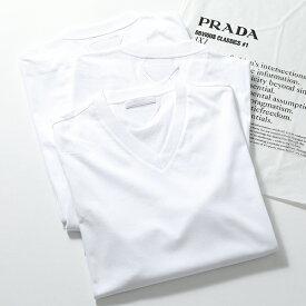 PRADA プラダ UJM493 ILK F0009 3枚セット パックT 無地 半袖 Tシャツ カットソー Vネック V首 BIANCO メンズ