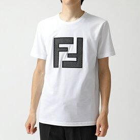 FENDI フェンディ FAF532 A78M F0ZNM クルーネック 半袖 Tシャツ カットソー FFメッシュロゴ WHITE メンズ