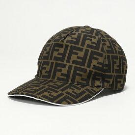 FENDI フェンディ FXQ768 A660 F0QAA BASEBALL CANVAS FF ベースボール キャップ 帽子 TOBACCO+WHITE メンズ