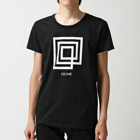 CELINE セリーヌ 12X308605G 38AW H19 クルーネック 半袖 Tシャツ ロゴ プリント カットソー BLACK/WHI メンズ