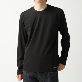 COMME des GARCONS コムデギャルソン W27110 クルーネック 長袖Tシャツ ロング カットソー ロンT ワンポイントロゴ BLACK メンズ
