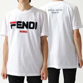 FENDI フェンディ FS7074 A5H1 F0ZNM × FILA フィラ コラボ クルーネック 半袖 Tシャツ カットソー WHITE メンズ