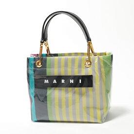 MARNI マルニ BMMP0013Q0 P2740 STC37 GLOSSY GRIP Sサイズ PVC ストライプ ハンドバッグ トートバッグ マルシェバッグ 鞄 レディース