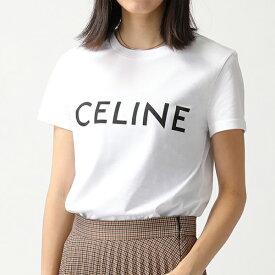 CELINE セリーヌ 2X3149 16G 01OB クルーネック 半袖 Tシャツ ロゴ プリント カットソー レディース