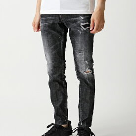 DSQUARED2 ディースクエアード S74 LB0586 S30357 Black Worked Skater Jeans ジーンズ ウォッシュ デニム ストレッチ 900 メンズ