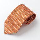 HERMES エルメス 626073T 09 HTH1904 フランス製 シルク ネクタイ 柄 ブランドBOX付き オレンジ メンズ