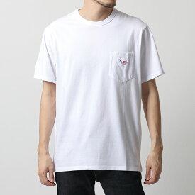 MAISON KITSUNE メゾンキツネ AM00102KJ 0010 TRICOLOR FOX PACH クルーネック 半袖 Tシャツ カットソー ポケT WHITE メンズ
