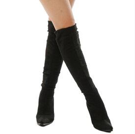 【靴下ブーツ】【ソックスブーツ】【ソックスニーハイブーツ】【靴下】【美脚】スエード調 ストレッチ ヒール ニーハイ かわいい 履きやすい 激安