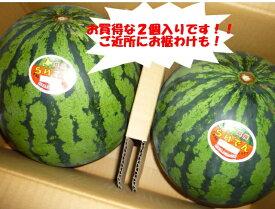 送料無料 北海道を代表するスイカ 北海道共和町産ギフトに最適 訳なし らいでんすいか糖度11度以上 L〜2Lサイズで1玉当たり4.5kg以上2玉入りで9kg以上!