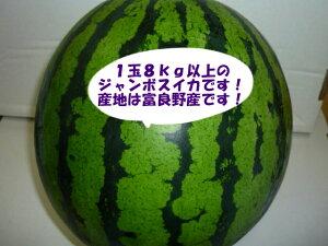送料無料(一部地域除きます)北海道富良野産訳あり 大玉 スイカ5L〜6Lサイズで1玉当たり7kg以上ジャンボすいか!