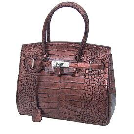 【新品】 ヘンローン クロコダイル  メタリック 30cm YB-2101 ブラウン ハンドバッグ