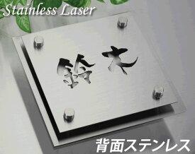 漢字京円デザイン Wステンレス表札 ステンレスレーザー加工+ステンレスプレート stl150n-170st