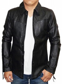ハムネット HAMNETT 本革 シャツジャケット d07k2 黒 メンズ 細身 メンズ レザー 冬物 秋物 sale セール