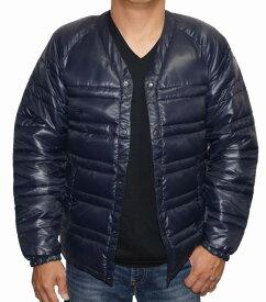 アールニューボールド R.NEWBOLD 中綿 ジャケット 襟なし 紺 メンズ ノーカラー ネイビー 冬物 ライオンマーク