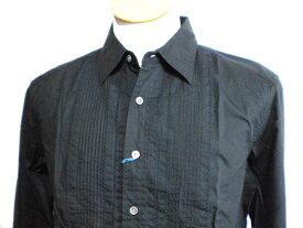 新品 ハムネット HAMNETT 長袖シャツ 黒色  メンズ ブラック 春物 秋物 ドレス シャツ 無地 サイズL 17X02