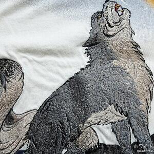 2017年夏物新作【ビッグ有】絡繰魂/カラクリ魂/からくり魂笑猫【送料無料】コウモリと狼刺繍和柄半袖Tシャツ白/黒M/L/XL/XXL【smtb-k】【ky】父の日【YDKG-k】メンズ【ky】ギフト【RCP】272382