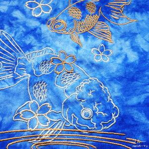 2018年夏物新作【ビッグ有】絡繰魂/カラクリ魂/からくり魂【送料無料】水面桜に金魚刺繍タイダイ柄和柄半袖Tシャツ青ブルーM/L/XL/XXL【smtb-k】【ky】父の日【YDKG-k】メンズ【ky】ギフト【RCP】282090