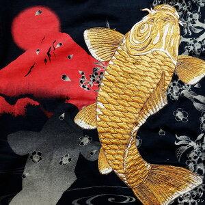 2018年夏物新作【ビッグ有】絡繰魂/カラクリ魂/からくり魂【送料無料】赤富士に金鯉刺繍和柄半袖ポロシャツ白/黒M/L/XL/XXL【smtb-k】【ky】父の日【YDKG-k】メンズ【ky】ギフト【RCP】282316