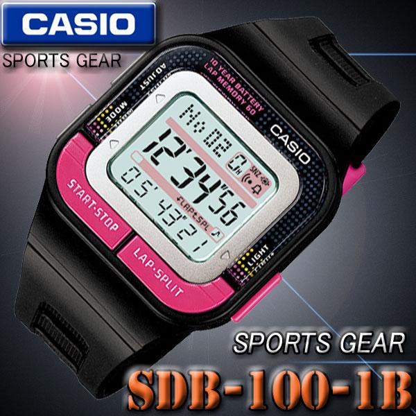 CASIO SDB-100-1B カシオ SPORTS GEAR スポーツギア デジタル 腕時計 黒 ブラック×ピンク【国内 SDB-100J-1BJF と同型】海外モデル【新品】『宅配便』で全国*送料無料*
