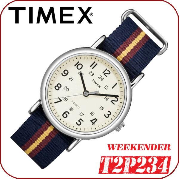 TIMEX【T2P234】WEEKENDER CENTRAL PARKFULL SIZE 38mm径 タイメックス ウィークエンダー セントラルパーク メンズ クォーツ腕時計 ナイロンベルト ネイビー×レッド×イエロー 並行輸入【新品】『宅配便』で全国*送料無料*