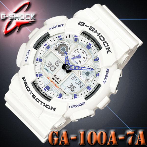 『宅配便』で全国*送料無料*CASIO GA-100A-7A G-SHOCK カシオ Gショック アナデジ メンズ 【耐磁】腕時計 白 ホワイト【国内 GA-100A-7AJF と同型】海外モデル【新品】