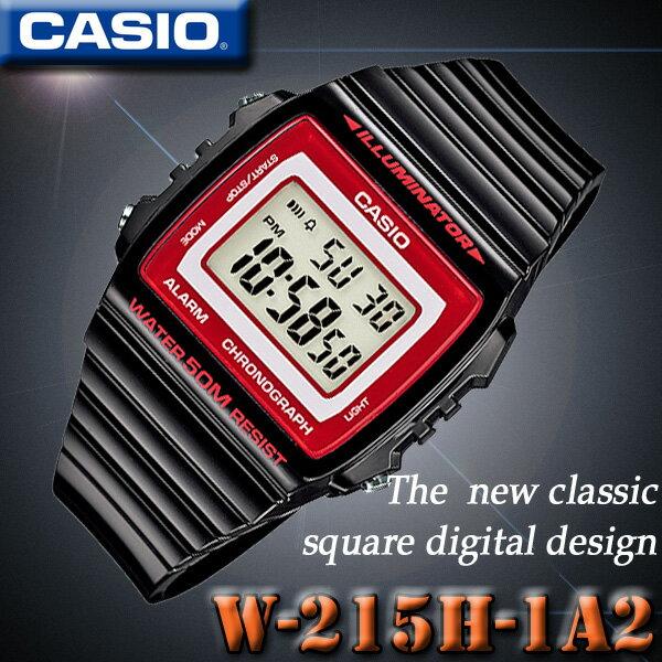CASIO W-215H-1A2 カシオ デジタル STANDARD DIGITAL クォーツ 腕時計 ブラック×レッド 海外モデル【新品】『宅配便』で全国*送料無料*