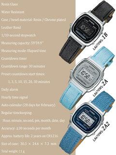 在庫有り!即納可【あす楽対応】CASIOカシオスタンダードデジタルクォーツレディース腕時計LA-670WL【LA670WL-1B】【LA670WL-2A】【LA670WL-2A2】デニム地レザーベルト【海外モデル】メール便配送もOK【新品】