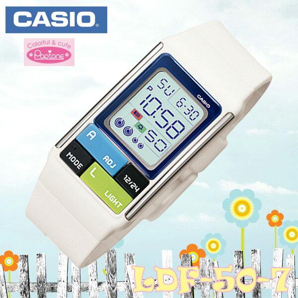 CASIO POPTONE LDF-50-7 カシオ ポップトーン Digital Quartz 腕時計 レディース 白 ホワイト×ブルー 海外モデル【新品】