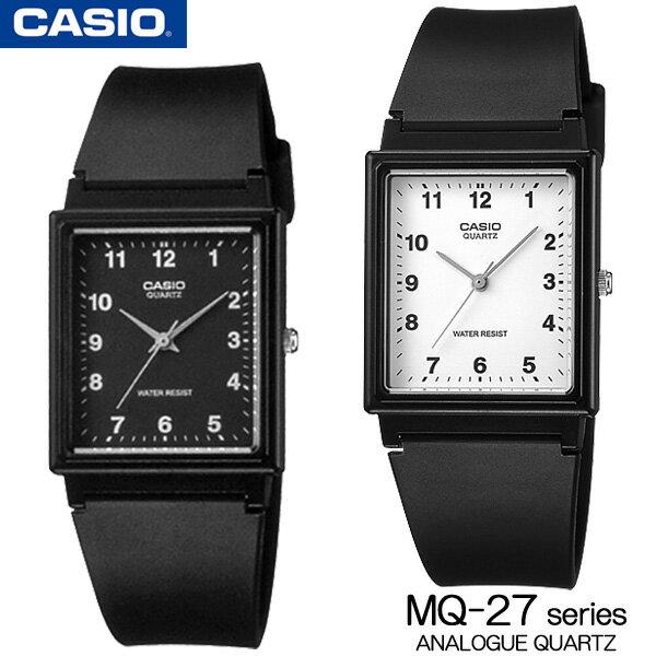 カシオ CASIO MQ-27 Series Standard Analog Quartz スタンダード アナログ クォーツ 腕時計 MQ-27-1B MQ-27-7B メンズ【ユニセックス】レディース 男女兼用 白 黒 海外モデル【新品】【保証付】チプカシ 角型