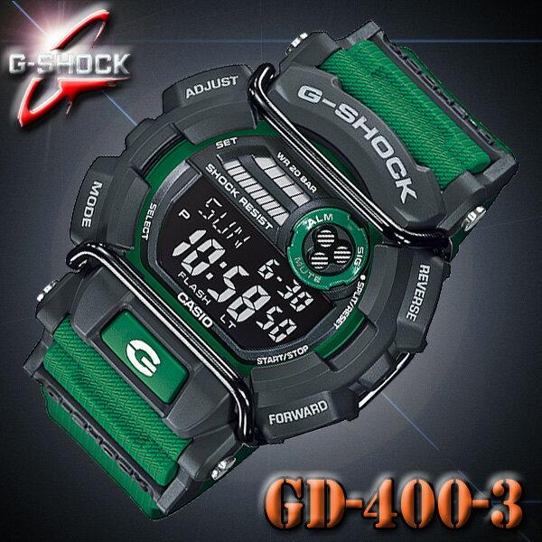 CASIO G-SHOCK GD-400-3 カシオ Gショック 腕時計 グリーン×ダークグレー 緑【防水】Gライド G-LIDE【国内 GD-400-3JF と同型】海外モデル【新品】『宅配便』で全国*送料無料*