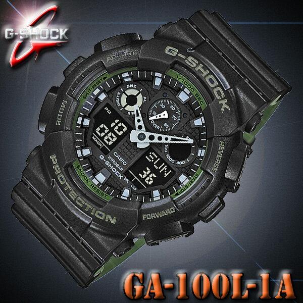 CASIO G-SHOCK GA-100L-1A カシオ Gショック アナデジ メンズ 腕時計 THE MILITARY MOTIF DESIGN SERIES ブラック×グリーン【国内 GA-100L-1AJF と同型】海外モデル【新品】『宅配便』で全国*送料無料*
