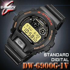 【あす楽対応】CASIOカシオG-SHOCKGショックDW-6900G-1V【ゴールド液晶】海外モデル【楽ギフ_包装】【新品】