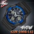 CASIOG-SHOCKGAW-100B-1A2カシオGショック電波ソーラーアナデジ腕時計ブラック×ブルー【国内GAW-100B-1A2JFと同型】海外モデル【新品】