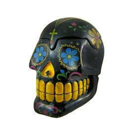 ドクロ灰皿 / Things2Die4 / Glossy Black Day Of The Dead 3D Skull Trinket Box 2167