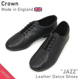 CROWN クラウン JAZZ レザーシューズ BLACK レディース ダンス オールブラック スニーカー バレエシューズ repetto MADE IN ENGLAND 英国製 送料無料 楽天 通販 【RCP】