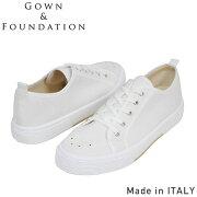 Gown&FoundationGarments×BLU-STARキャンバススニーカー[WHITE]メンズテニスシューズホワイトガムソールイタリア製男性用送料無料楽天通販【RCP】