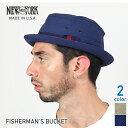 ニューヨーク Fishermans ポークパイハット ネイビー ベージュ レディース