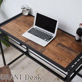デスク 100 GRANT(グラント) GRD-100 天然木パイン材 オイル仕上げ 棚付き マガジンラック付き パソコンデスク