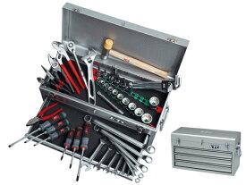 KTC(京都機械工具) 工具セット(チェストタイプ、一般機械整備) 9.5sq. 入組51点 シルバー <SK4510MXS> / 工具セット(片開きメタルケースタイプ) 12.7sq. 入組44点 <SK444S>【工具箱 ツールセット ツールボックス】