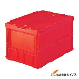 TRUSCO 薄型折りたたみコンテナ 50Lロックフタ付 レッド TR-C50B R