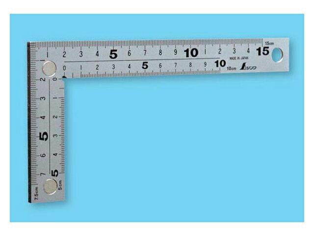 シンワ 曲尺 厚手広巾 シルバー 15cm 表裏同目 8段目盛 マグネット付 <10435> 【矩尺 かねじゃく かね尺 サシガネ 差し金 直角 定規 名前 diy 建築 物差し 物差し 角厚 小型 鯨尺 スコヤ 角度 勾配 測り方 測る 直角定規】