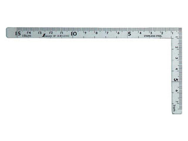 シンワ 曲尺 小型 五寸法師 ステン 15×7.5cm 表裏同目 <12103> 【矩尺 かねじゃく かね尺 サシガネ 差し金 直角 定規 名前 diy 建築 物差し 物差し 角厚 小型 鯨尺 価格 値段 スコヤ 角度 勾配 工具 測り方 測る 直角定規】