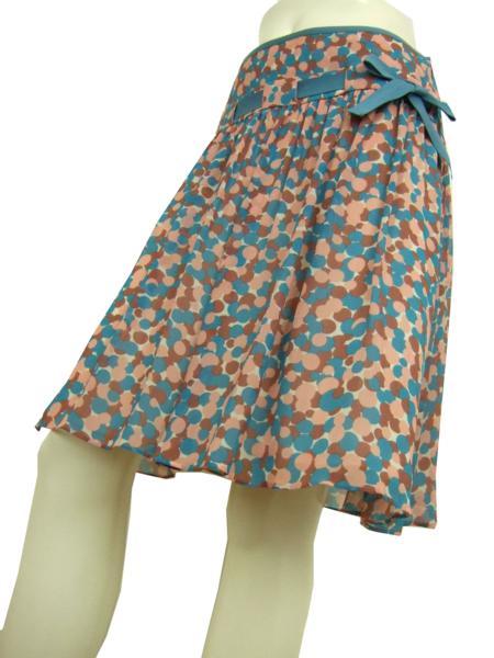 【中古】ベビージェーンキャシャレル Baby Jane cacharel 青系 ドット柄 リボン付シフォンスカート 9号 レディース ボトムス