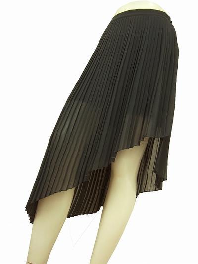 【中古】ザラ ZARA グレー アシメ×繊細プリーツ 美シフォンスカート 9号 レディース ボトムス