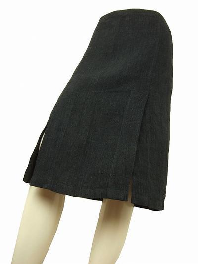 【中古】 アニエスベー agnes.b 濃グレー 仏製 リネン100 素敵スカート38 レディース