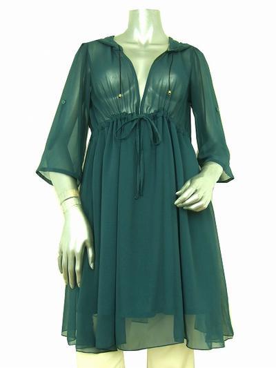 【中古】 INGRID イングリッド 緑系 透け感 7分袖 シフォン美ワンピース2 レディース