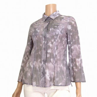 Feeling of KRIZIA/ クリッツィア / purple X gray / hemp linen blend / logo button / wrinkle blouse / tops /40/11/ autumn / Lady's containing in the spring and summer