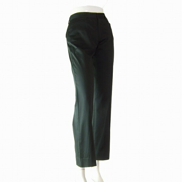 【中古】アクアスキュータム Aquascutum 黒 艶感 ストレッチ素材 美脚パンツ 小さいサイズ Sサイズ(7号/36号相当) 春秋 レディース ボトムス