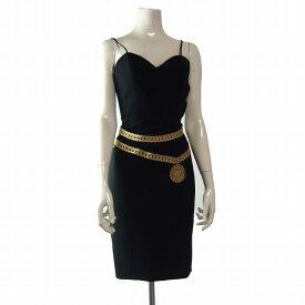【中古】モスキーノ MOSCHINO イタリア製 黒 チェーンベルト刺繍 素敵スリップドレス ワンピース 小さいサイズ 5号(SSサイズ相当) 春夏 レディース